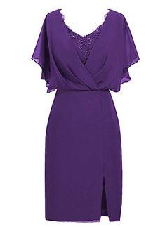 MenaliaDress Short Chiffon V Neck Mother of Bride Dress w...