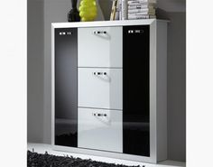 Orion 5 door shoe cabinet in white and black glass and aluminium frame  #home #interiordesign #contemporaryfurniture #furniture #house #interiors
