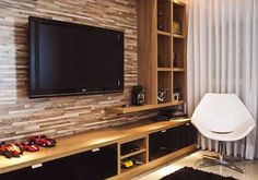 Interesting idea to do racks of shelving! Tv Unit Design, Tv Wall Design, House Design, Living Room Zones, Living Room Tv, Salas Home Theater, Sweet Home, Muebles Living, Home Tv
