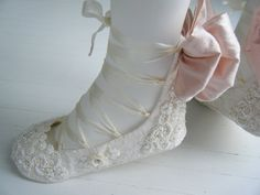 Wedding Bridal Flats, Womans BOBKA BOOT,Jane Austen, Regency Ivory Lace Ballet Shoes by Bobka Baby