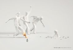 Standing up for humanity and human rights around the world, Amnesty International recently collaborated with advertising agency Ogilvy & Mather London on this powerful new print ad campaign with the tagline 'Fan the Flame& New Print, Print Ads, Amnistie International, Diorama, Ogilvy Mather, Young Art, Creative Advertising, Advertising Agency, Advertising Ideas