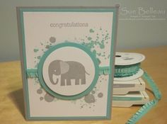 """Stampin' Up """"Zoo Babies"""" and """"Gorgeous Grunge"""" stamp sets. Cardstock, inks and ribbon used was Soft Sky and Costal Cabana."""