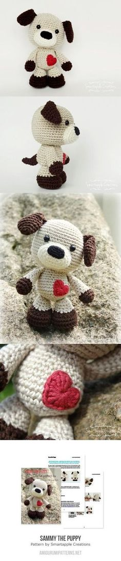Sammy The Puppy Amigurumi Pattern ༺✿ƬⱤღ http://www.pinterest.com/teretegui/✿༻