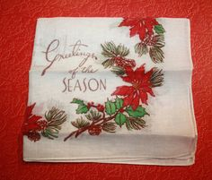 Vintage 1940s Christmas Handkerchief with Seasonal by FelicesFinds