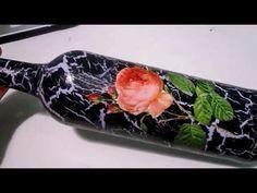 como decorar una botella vintage con decoupage y pintura acrilica - YouTube