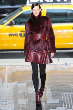 Why wear one maroon piece when you could wear several in contrasting textures? As modelled at DKNY's A/W '12 show.                                                                                                    Shop: Plummy accents