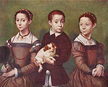 Sofonisba Anguissola -Trois enfants avec chien
