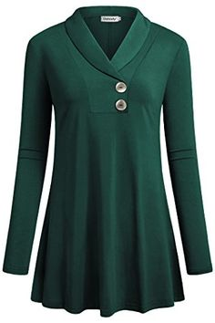 Find Ouncuty Women Fall Long Sleeve Tops Shawl Neck Button Down Dressy Blouses Shirts online. Shop the latest collection of Ouncuty Women Fall Long Sleeve Tops Shawl Neck Button Down Dressy Blouses Shirts from the popular stores - all in one Formal Tops For Women, Tunics With Leggings, Mode Hijab, Casual Fall Outfits, Winter Outfits, Mode Outfits, Blouses For Women, Women Tunic, Older Women Fashion