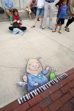 "An impromptu performance by street musician ""Fats"" Wallow, whose smile has been known to crack the pavement. New June 2017 Best Street Art, 3d Street Art, Street Art Graffiti, Street Artists, Usa Street, Graffiti Artists, David Zinn, 3d Street Painting, New York Graffiti"