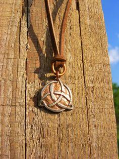 Celtic Trinity Necklace. Etched Quarter Necklace. ManMadeDesign. Celtic Necklace. Trinity Necklace. Celtic Jewelry. Irish Necklace.