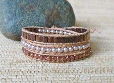 Beaded Leather Wrap Bracelet: Copper, Rose Gold, Pearl/3 Wrap Bracelet/Layering Bracelet/Stacking Bracelet/Gift for Her/3rd Anniversary/OOAK by DevaOriginalBracelet on Etsy