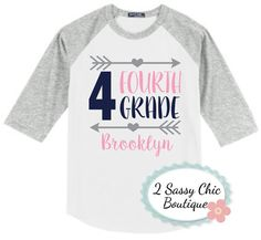 Customize this adorable back to school shirt by choosing your shirt color, design colors, and add a name for that finishing touch. All grade levels are available. Please leave grade level, colors for design, and name for design at checkout.