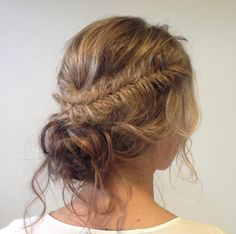 Textured fishtail bun with side pieces by Rachelle Lord