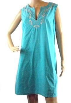 Gap Aqua Blue Sleeveless Sheath Dress Knee Length Cotton Lined Size Medium #Gap #Sheath #Casual