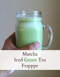 Iced Green Tea Frappe - The Write Balance Green Tea Frappe Recipe, Matcha Green Tea Latte, Green Tea Powder, Coffee Latte, How To Make Homemade, Iced Tea, Coffee Drinks, Pie Recipes, Drink Recipes