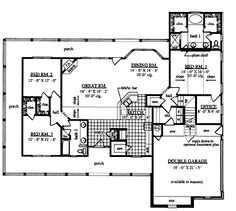 Home Plans HOMEPW15633 - 2,001 Square Feet, 3 Bedroom 2 Bathroom Cottage Home with 2 Garage Bays