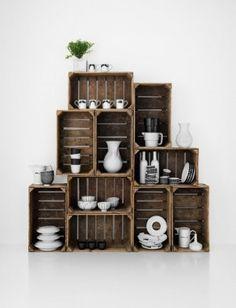 Alacena para cocina, encuentra más opciones para reciclar en http://www.1001consejos.com/muebles-con-cajas-de-madera/