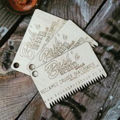 Surf wax combs/business cards made from scrap plywood! Cruiser Skateboards, Plywood, Business Cards, Fun Stuff, Surfing, Card Making, Scrap, Wax, Designers