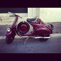 """Vespa, very nice. The name reportedly originated when Piaggio's president upon seeing the prototype, remarked """"Sembra una vespa"""", """"It looks like a wasp""""."""