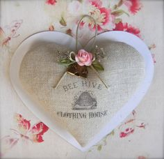 Linen Lavender Heart Sachet  Bee Hive by ginderellas on Etsy, $12.00