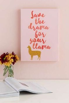 Drama For Your Llama Pink Canvas Wall Decor