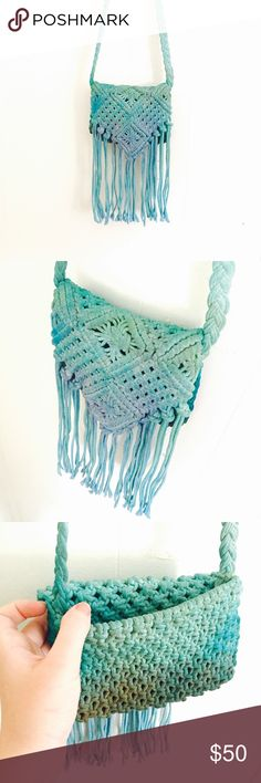 """Mermaid crochet tie dye purse Magical Colors of a mermaid blues and greens make this bag a beautiful and mystical item to own! It also has a faint gold glitter sparkle that won't wash off! This bag does NOT have a zipper it is open flap over, and NO lining. DIMENSIONS: 7.5"""" long, 7.5"""" across, top of bag opening to bottom of fringe 14"""", strap drop 20"""" BRAND NEW & HAND DYED! No two bags I make are exactly the same. You get the bag shown in the photos, I make separate  listings for each bag…"""