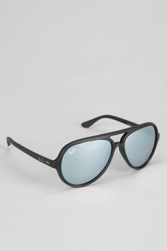 Ray-Ban Black Matte Flash Blue Mirror Aviator Sunglasses