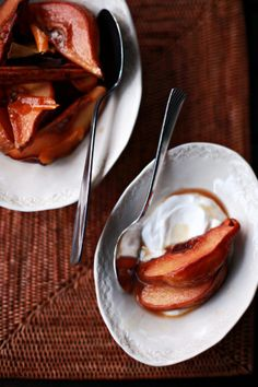 Oven-baked quince with spice and honey,