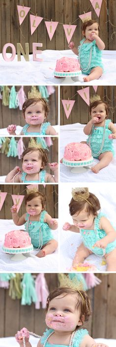 Baby First Birthday Pictures Color Schemes 69 Ideas For 2019 1st Birthday Photoshoot, Baby Girl 1st Birthday, First Birthday Cakes, First Birthday Parties, Lila Party, Bebe 1 An, Baby Showers, 1st Birthday Pictures, Birthday Ideas