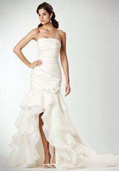 Slinky Flat Ruffle Flower Column Chiffon Tiered Court Train Wedding Dress