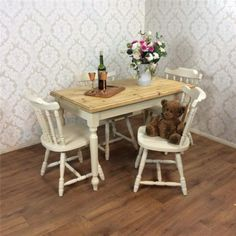 Shabby Chic Dining Table 4 chairs Kitchen Rustic farmhouse pine