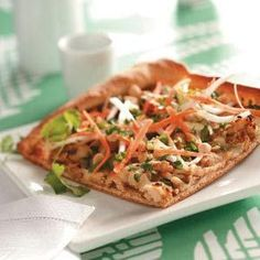 A refrigerated crust makes it a snap to prepare this scrumptious Thai-inspired pizza. You'll love the slightly spicy peanut sauce and yummy toppings. —Karen S. Shelton, Collierville, Tennessee