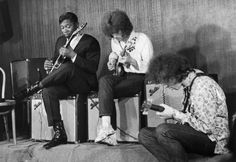 B.B. King, Eric Clapton, and Elvin Bishop on stage at the Cafe Au Go Go in New York's Greenwich Village in 1967.