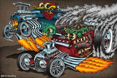 Duece Drag Race by on DeviantArt Cartoon Car Drawing, Cartoon Rat, Car Drawings, Monsters Ink, Cartoon Monsters, Monster Car, Monster Trucks, Cars Coloring Pages, Car Colors