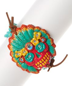 Look at this Turquoise Sugar Skull Clay Seed Stretch Bracelet on #zulily today!