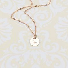 Rose Gold Initial Necklace Initial Charm Necklace by LunaOscula