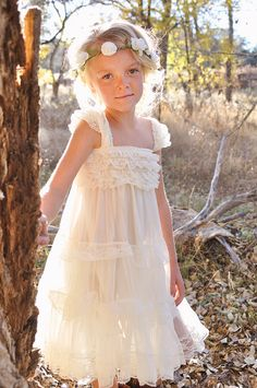 Ivory Lace Flower Girl Dress Ivory Lace Baby by CountryCoutureCo