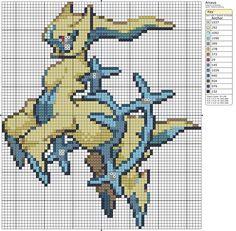 493 - Arceus - Ice - Shiny by Makibird-Stitching Pokemon Cross Stitch, Cross Stitch Bookmarks, Beaded Cross Stitch, Cross Stitch Charts, Cross Stitch Patterns, Carte Pokemon Rare, Pixel Art Grid, Pokemon Craft, Pixel Art Templates