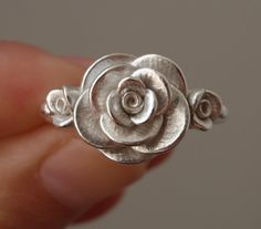 Size 8 Handsculpted Cast Rose Ring in Sterling Silver by jennykim