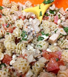Pasta salad. Pasta with chicken, vine ripened tomatoes, feta, fresh ...