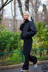 #bomber jacket Haute Couture Spring 2016 Street Style: Model off duty