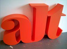 Bright orange painted polystyrene lettering 3d Letters, Lettering, Bright, Painting, Orange, Logo, Signs, Green, Home Decor