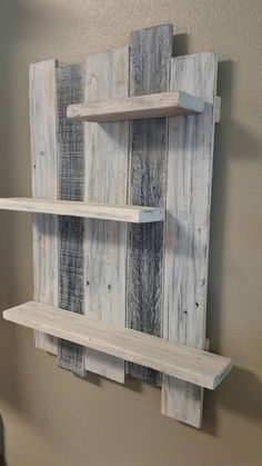 Handmade Home Decor Handmade Reclaimed White Washed Wood Shelving Wall Decor. Rustic Wall Hanging S. Wooden Pallet Projects, Diy Pallet Furniture, Pallet Wall Decor, Pallet Wood, Furniture Ideas, Pallet Wall Hangings, Furniture Stores, Cheap Furniture, Pallet Patio
