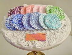 Crochet Scrubbies ~ Handmade Set of 14 ~ 2 Week Supply ~ Mixed Colors & White