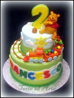 Torta compleanno trenino e winnie the pooh