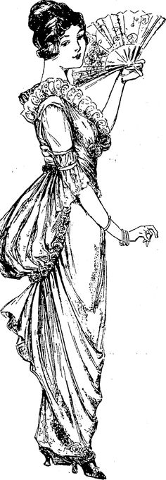 Crimson taffetas pointed bodice outlined with pink crush roses, which also follow the drapery edge a... [truncated] Observer, Volume XXXIV, Issue 43, 4 July 1914 Classy Women, Corsage, Drapery, First World, Outline, Evening Gowns, Past, Bodice, Crushes