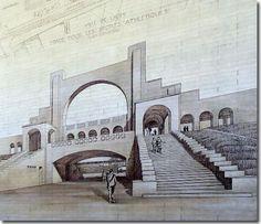 Protorracionalismo Tony Garnier (1869-1948) Estadio Olímpico (1913) Tony Garnier, Rationalism, Composition Design, Sport, Lyon, Muse, Exterior, French, Decks