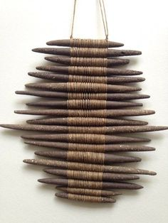 Gallery — Amy Dov Studio - Stoneware and linen 11 length width The Effective Pictures We Offer You About DIY deco - Ceramic Jewelry, Ceramic Art, Diy And Crafts, Arts And Crafts, Stick Art, Textile Fiber Art, Weaving Art, Bamboo Weaving, Driftwood Art