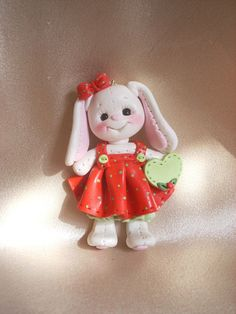 *POLYMER CLAY ~ Prabbit bunny Christmas ornament polymer clay gift animal personalized.