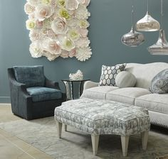 Devan Sofa, Renee Swivel Chair and Riley Rectangular Ottoman